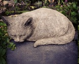 Sparta Curled up Cat Stoneware Garden Ornament