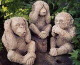 Sparta Monkey Set of 3 Statue Stoneware Garden Ornament