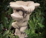Sparta Frog with Dish Stoneware Garden Ornament