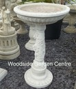 Stone Rose White Bird Bath
