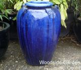 Blue Glazed Temple Jar Pot with Handles