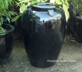 Black Glazed Temple Jar Pot with Handles