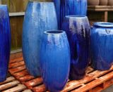 Extra Large Tall Glazed Blue Toggle Pot Planter