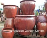 Large Glazed Copper Red Pot Tree Planter