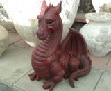 Extra Large Resin Red Dragon Garden Ornament Fantasy